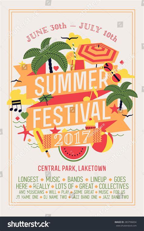 Beautiful Summer Festival Web Banner Printable Stock Vector 283796834 Shutterstock Summer Poster Template
