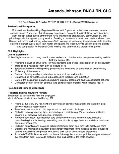 rpn sle resume generous ob rn resume photos exle resume ideas