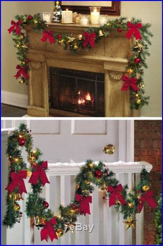 elegant lighted garland jingle bell lighted garland faux greenery home decor new b0010
