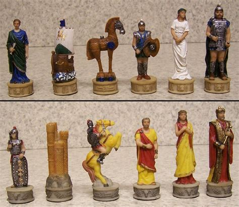 ancient chess set chess set pieces ancient battle of troy vs sparta vs