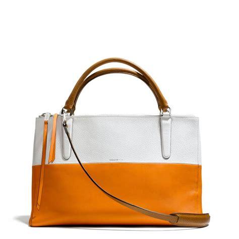 coach the borough bag in colorblock retro boarskin leather