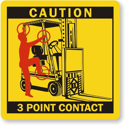 three point 3 point contact labels forklift seat sku lb 0835