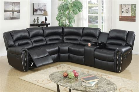 Theater Sectional Reclining Sofa Black Bonded Leather Home Theater Reclining Sectional Motion Sofa Seatings Set Lowest Price