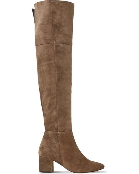 dune samba suede the knee boots in brown taupe