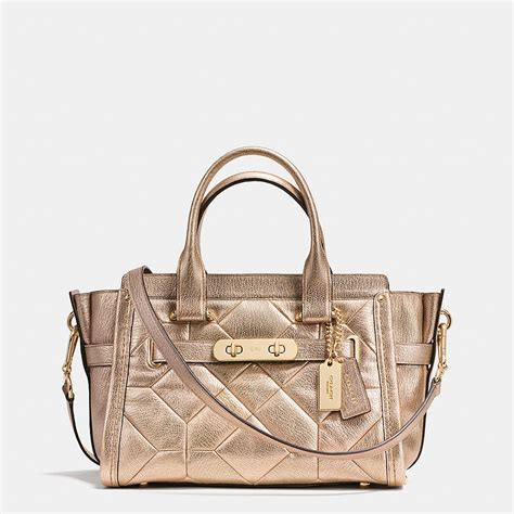 Tas Coach Original Coach Swagger 27 Cloud coach designer handbags coach swagger 27 carryall in metallic patchwork leather