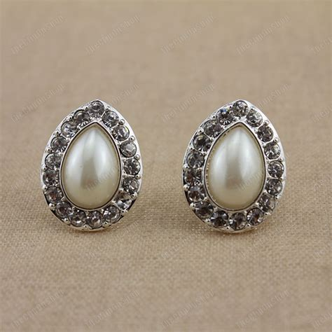 comfort clip earrings clip on crystal pearl tear drop earrings silver rhinestone
