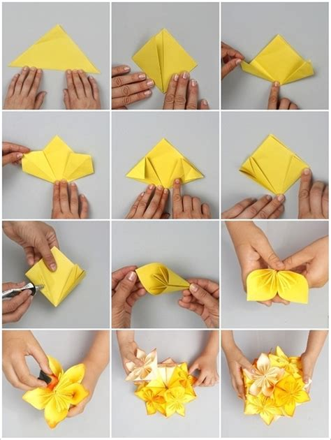 how to make paper folding crafts wonderful diy origami kusudama flower
