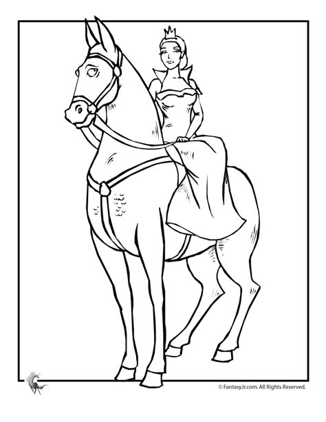 princess on horse coloring page woo jr kids activities