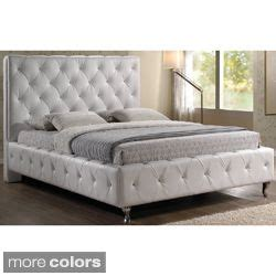stella crystal tufted white modern bed with upholstered headboard jazmin tufted modern bed with upholstered headboard by