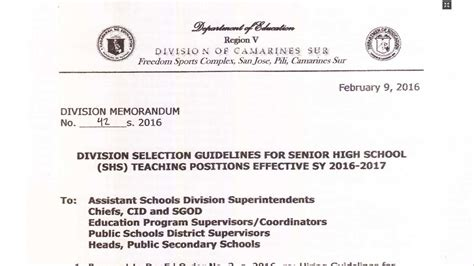 application letter for in tle deped camarines sur recruitment of senior high school