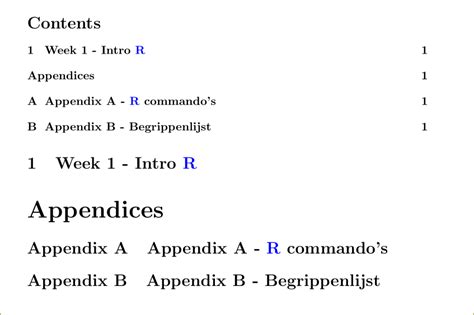 latex appendix section table of contents adding toc line manually within