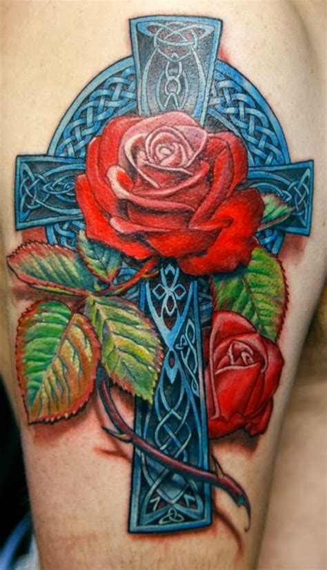 3d celtic cross tattoos celtic cross with roses 3d version amazing work