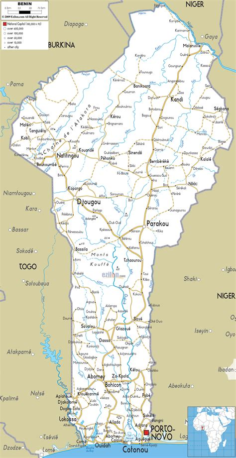 africa map benin detailed clear large road map of benin ezilon maps