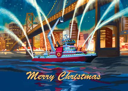 boat us foundation christmas cards iaff holiday cards iaff fire boat merry christmas