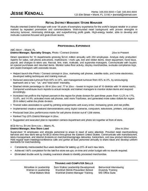 Resume Sles For Retail Store Manager How To Write A Resume For Retail Writing Resume Sle Writing Resume Sle