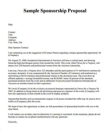 Sle Letter For Sponsorship Pdf sponsorship template 9 free documents in pdf word