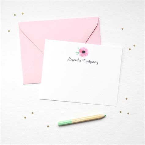 Personalized Wedding Stationery by Pink Anemone Floral Stationery Set Mospens Studio Custom