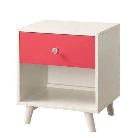 pink nightstand furniture of america modern nightstand in pink and white idf 7850pk n