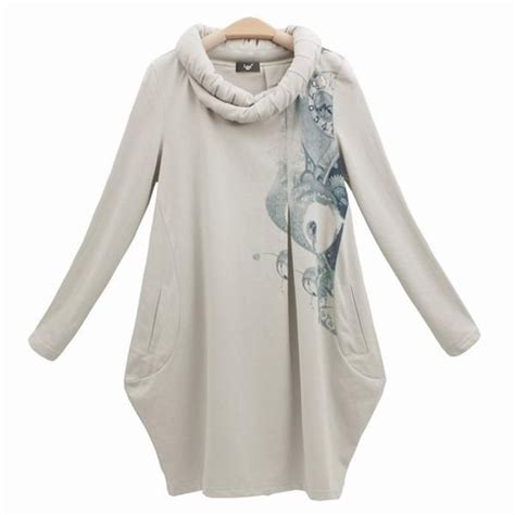 Hmm Tuneec Longshirt trendy tunic tops for ly trendy roll collar pocketed printed sleeve tunic dress