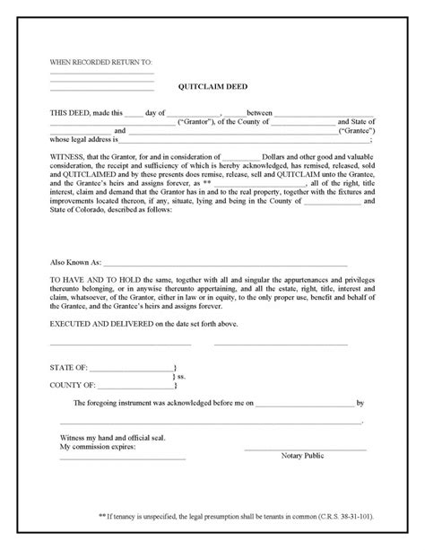 quitclaim deed colorado quit claim deed form deed forms deed forms