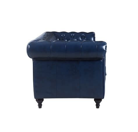tufted scroll arm chesterfield sofa blue genuine leather chesterfield tufted scroll arm living