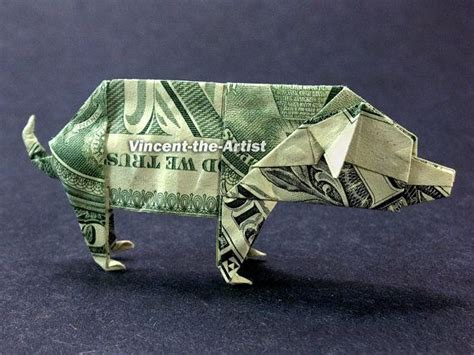 Dollar Bill Origami Animals - pig money origami animal dollar bill