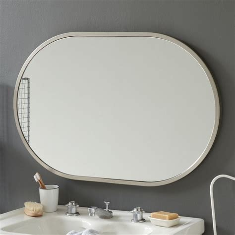 bathroom wall mirrors brushed nickel metal oval wall mirror brushed nickel bathroom