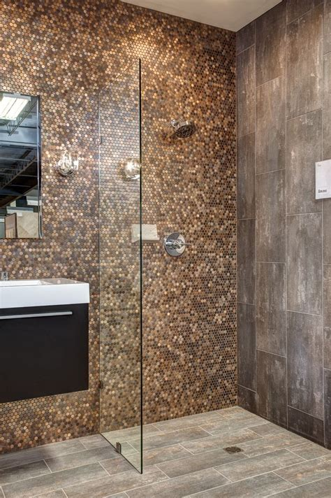 Copper Tiles Bathroom brushed copper rounds virgo negro and ledet wood tile floor fauxwood woodtile bathroom