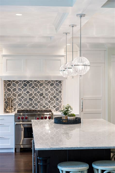 hanging pendant lights kitchen island white kitchen with blue gray backsplash tile home bunch