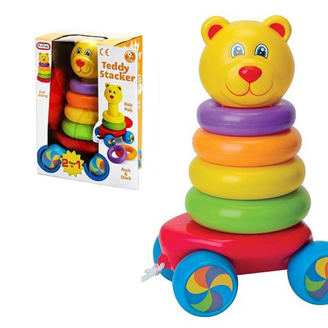 Funtime Stacker alami baby activity toys time pull along teddy stacker