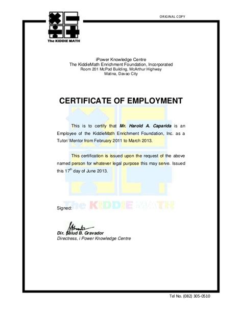 certification letter for travel certficate of employment km