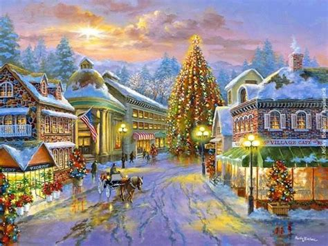 beautiful christmas town art christmas illustrations