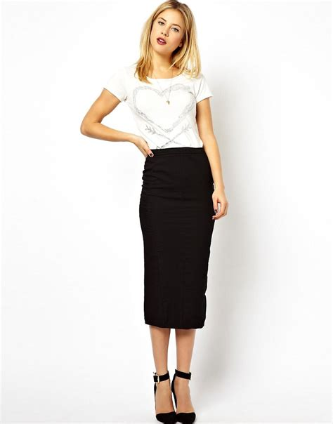 asos asos denim seamed midi pencil skirt in clean black