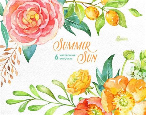 Sprei Hello Sweet Berry 120x200x25 summer sun 6 watercolor bouquets popies by octopusartis