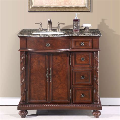 Bathroom Vanities by 36 Perfecta Pa 138 Bathroom Vanity Single Sink Cabinet Chestnut Finish Granite