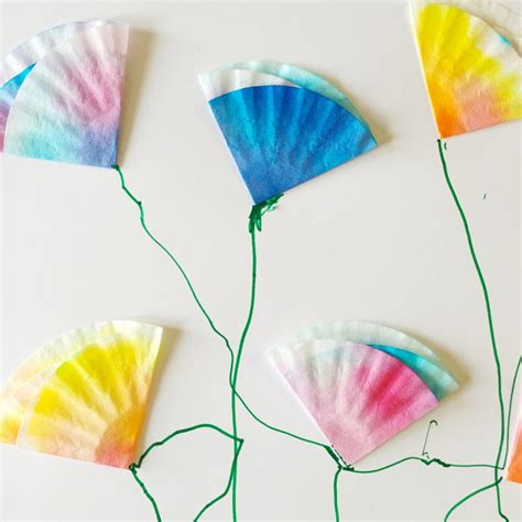 Coffee Filter Paper Crafts - mini coffee filter flowers family crafts