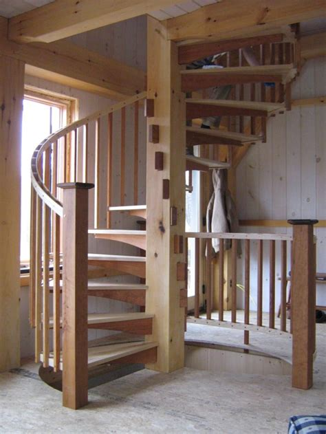 spiral stair  timber frame cabin