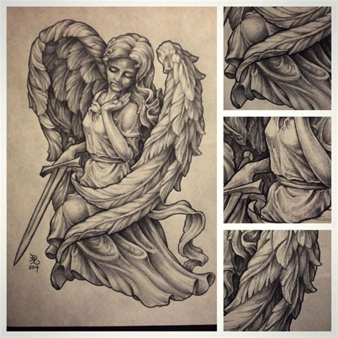 angel statue tattoo pencil and in color