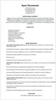 resume format exles for steel fabrication professional journeymen hvac sheetmetal worker resume templates to showcase your talent