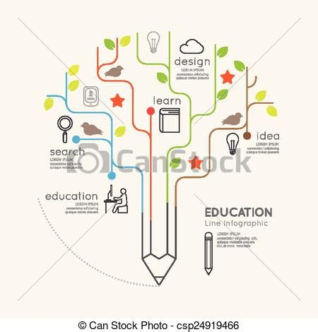Flat Linear Infographic Education Pencil Tree Outline Clip Art Vector Search Drawings And Linear Flat Family Tree Infographics
