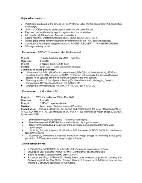 sap bi sle resume for 2 years experience sap bi sle resume for 2 years experience resume ideas