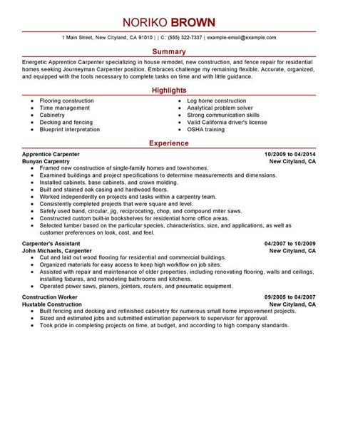 Lead Carpenter Resume Exle