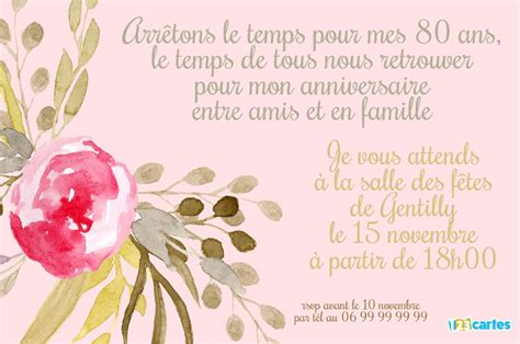 invitation anniversaire 80 ans fleur s 233 pia 123 cartes