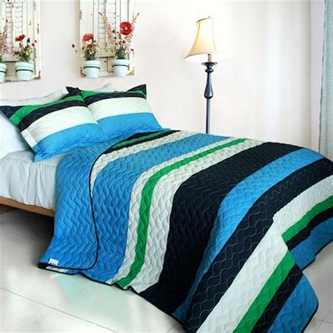 teen boys bedding blue navy green striped bedding full queen quilt set teen