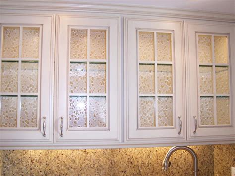 cabinet doors with glass textured glass inserts and