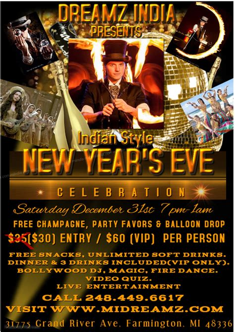 new years events michigan dreamz india new year 2017 in michigan