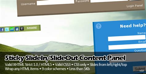 layout css sticky enabled sticky slidein slideout content panel traclaborat