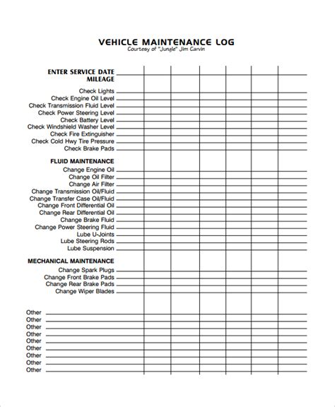 sample vehicle repair log template excel templatezet