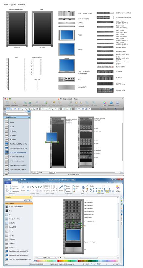 layout calculation software network diagramming tools design element for rack