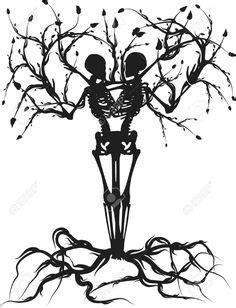 couple tattoo vector tree skeleton tattoo google search